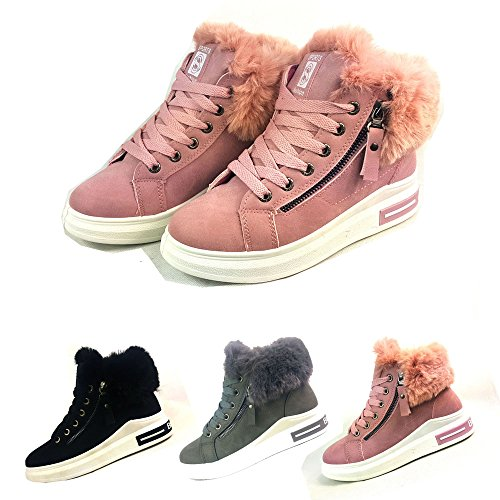 Other Womens Ankle Boots Faux Fur Lining Zip Sneakers Lace Up Flat Trainers Shoes Size