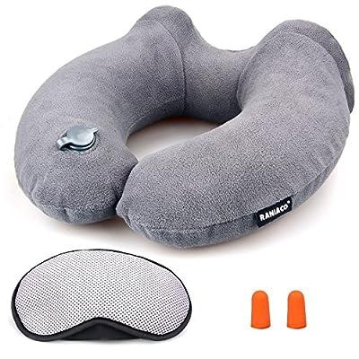aufblasbares Nackenkissen, Raniaco Reisekissen, bestes aufblasbar nackenhörnchen für Nackenschmerzen und für das Schlafen auf Flugzeuge, reisen, Auto mit Ohrstöpsel, Schlafen Augenmaske