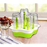 HuiHuang Plastic Glass Draining Stand With Drip Tray - Color Green
