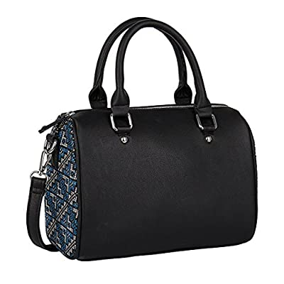 SIX - 1 pc. of Medium Sized Black Bowling Bag, Handbag, with Blue and White Ikat Print, Shoulder Bag, Top Handle Bag, Faux Leather (463-046) - bowling-handbags, fashion-bags