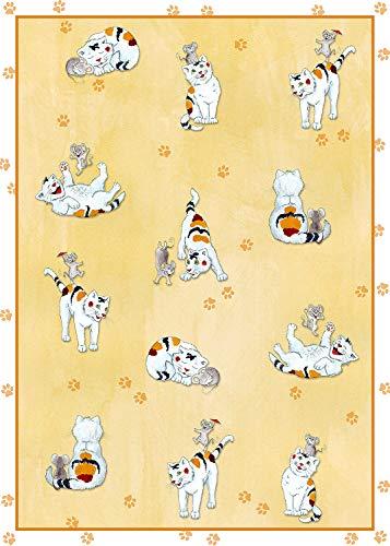kracht Lot de 2 torchons en Demi-Lune Motif Chat et Souris 50 x 70 cm