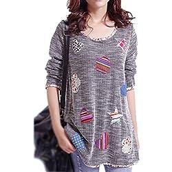 SODIAL(R) Camiseta con dibujo del corazon de la flor con manga larga para Mujer, Gris XXXL