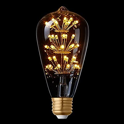 Splink Edison LED Bulb Vintage Satr Design E27 2W 2200k Warm White Romantic LED Decorative Light Bulbs for Holiday Christmas Indoor Party Squirrel Cage