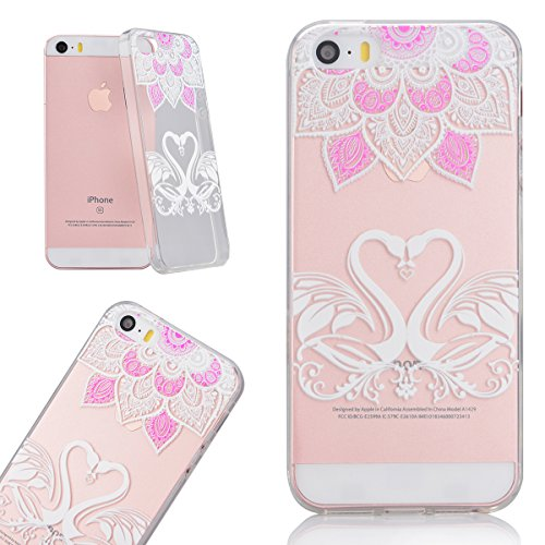 Coque Apple iPhone SE, Etui iPhone 5S, iPhone 5 TPU Silicone Étui Housse Clair Transparente Back Cover Gel Souple Cas Doux Ultra Mince Soft Case Anti Rayures Case de Protection Motif Beau Swag by Vert Cygnes et Fleurs
