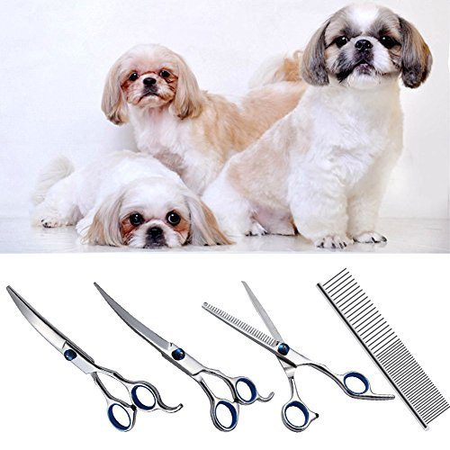 Swify 5pcs Professionelle Haustiere Komplett-Pflege-Set Hundepflege grooming Schere Rostfreier Stahl Hunde-Haarschere Metall Haustier Pflege Kamm oder Fellpflegewerkzeug - 6
