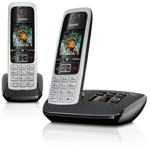 Gigaset C430A Duo 2 schnurlose Telefone mit Anrufbeantworter (DECT Telefon mit Freisprechfunktion, klassische Mobilteile mit TFT-Farbdisplay) schwarz-silber (Telefon Schnurloses)