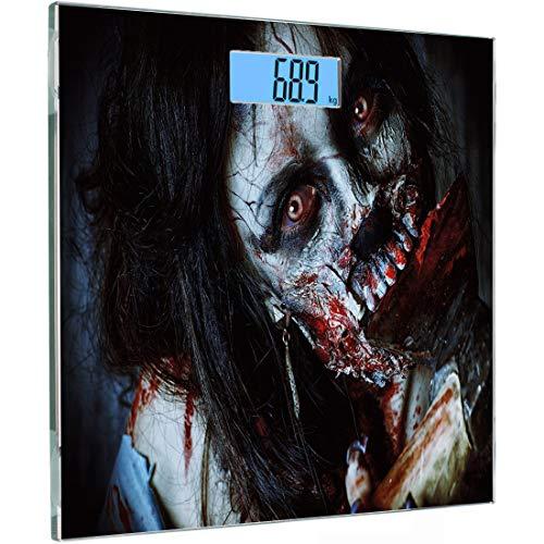 ise Sensoren Digitale Körperwaage Zombie Dekor Gehärtetes Glas Personenwaage, Scary Dead Woman mit blutiger Axt Evil Fantasy Gothic Mystery Halloween Bild, Multicol ()