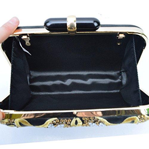Europa Und Die Vereinigten Staaten Damen Brautjungfern High-End Mode Edelsteine Stickerei Abendtasche Cheongsam Tasche High-Grade Diamant Black