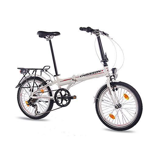 CHRISSON 20 Zoll Faltrad Klapprad - Foldrider 1.0 Weiss - Faltfahrrad für Herren und Damen - 20 Zoll klappbares Fahrrad mit 7 Gang Shimano Kettenschaltung - Folding City Bike