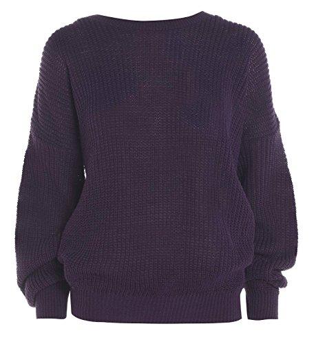 Nuovo da donna oversize Baggy pescatore Maglione Chunky Maglione Plus Size 8–14 Purple