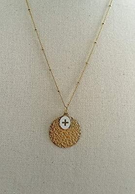 Collier double médailles petite Croix en acier inoxydable Blanche - Médaille croix émaillée