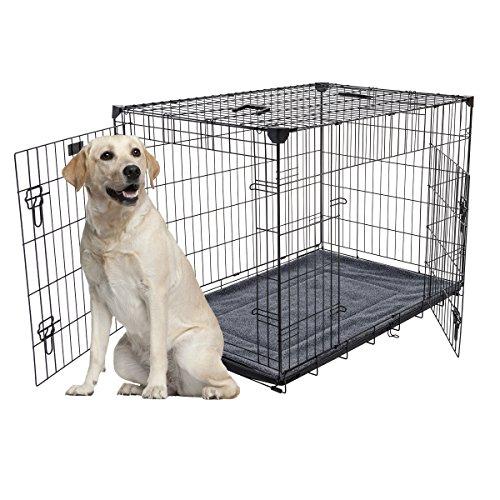 Hundebox - Lucky Dog Kleine 2-türige Hundebox enthält Anti-Wackel-Stabilisatoren, abnehmbare Wanne mit Matte, Griff. Perfekt für Reisen & Hundetraining (107 L x 71 W x 79cm H)