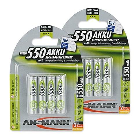 Ansmann Maxe Micro AAA batterie 8x 550mAh Batterie Faible autodécharge vorgeladene