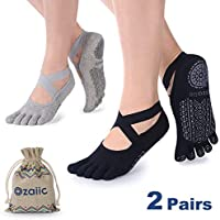 Ozaiic Yoga Socks for Women with Grips, Non-Slip Five Toe Socks for Pilates, Barre, Ballet, Dance, Workout, Fitness |Cotton, Size 2.5-9