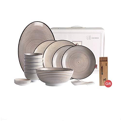 Ensemble de couverts en céramique de 22 pièces, ensemble de vaisselle bol de soupe de vaisselle de ménage, vaisselle rétro sous glaçure japonaise (Couleur : Brown a)