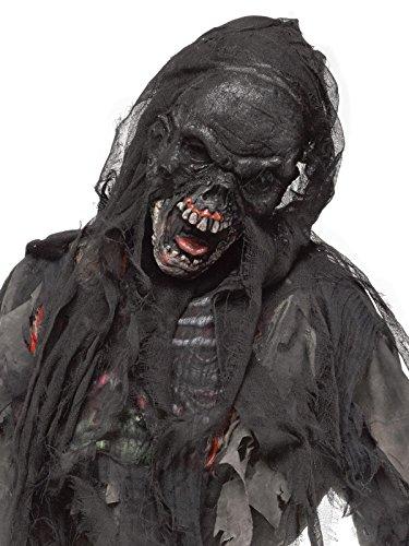 Verbrannter Zombie Halloween Maske mit Kapuze schwarz