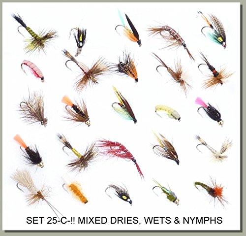 Forellen Fliegenfischen Fliegen Nassfliegen trocknet, & Nymphs am Haken Größen 10, 12oder 14Set 25-c-. HOOK SIZE 12 (Hook Dry Barbless Fly)