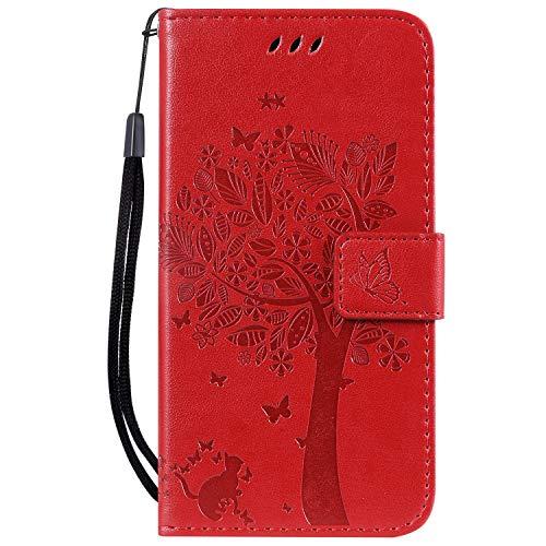 Hauw En Relieve Arbol Gato Mariposa Patrón Caja del Teléfono para Xiaomi Redmi Go,Rojo