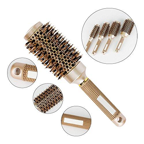 AOLVO Brosse en poils de sanglier,brosse à cheveux professionnelle,brosse à brushing ionique avec corps céramique thermique doré,45#:25.5*4.5cm