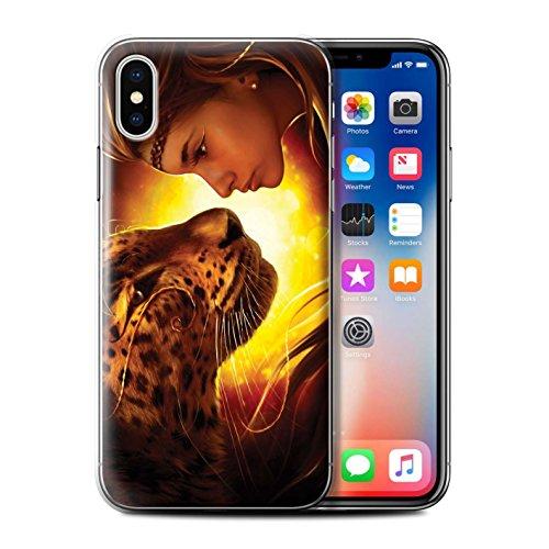 Offiziell Elena Dudina Hülle / Case für Apple iPhone X/10 / Waldpaar/Hase Muster / Die Tiere Kollektion Angesicht Angesicht/Tiger