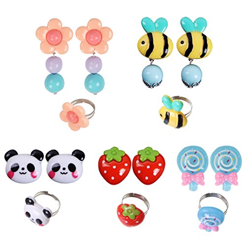 zessin Partyzubehör Mädchen Schmuck Ringe Clip auf Ohrringe Pack (Süßes Paar Kostüme Billig)