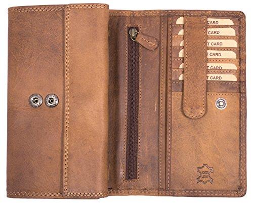 Hill Burry Damen Geldbörse | XXL 100% Echtes Leder - Vintage Langes Portemonnaie (Braun)