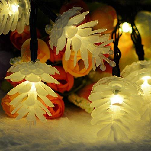 Prevently Solarleuchte Garten 20 LED Solarenergie Tannenzapfen Licht Weihnachtsbeleuchtung Laterne Wasserdichte für Haus, Garten, Wege, Baum etc (Warmweiß)