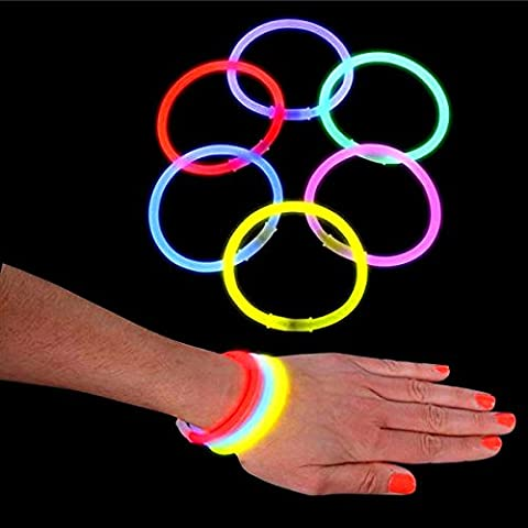 German Trendseller® - 12 x bracelets lumineux┃glow sticks┃bâtons fluorescents┃snaplight┃mélange de couleurs
