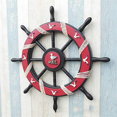 Möwe Ornament (FENGCLOCK Mediterraner Stil Rot Steuermann Lenkrad Wanddekoration, 62cm Möwe Muster Aus Holz Handwerk Ornaments, Schiffssteuerruder An Hauptdekoration)