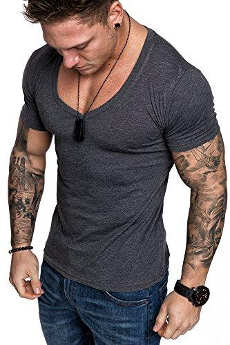 Amaci&Sons Oversize Herren Slim-Fit V-Neck Basic T-Shirt V-Ausschnitt 1-0006 Anthrazit Melange XL (1 Baumwoll-t-shirt Und)