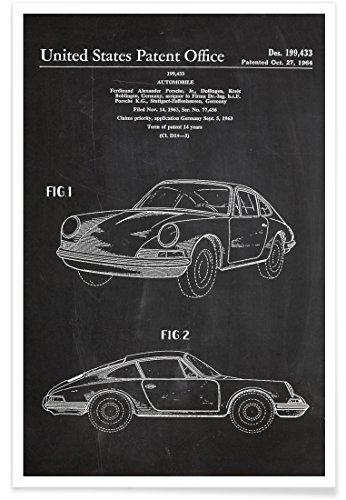 """JUNIQE® Poster 20x30cm Schwarz & Weiß Autos - Design \""""Vintage Car\"""" (Format: Hoch) - Bilder, Kunstdrucke & Prints von unabhängigen Künstlern - Kunst von Autos & Wagen - entworfen von Stanley Print House"""