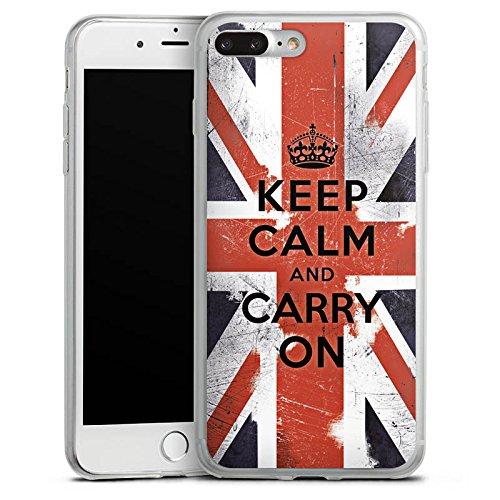 Apple iPhone 8 Plus Slim Case Silikon Hülle Schutzhülle Keep calm and carry on Sprüche England Flagge Silikon Slim Case transparent