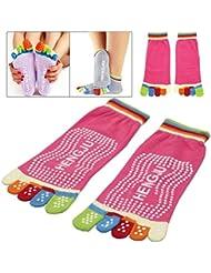 JJOnlineStore–4pares antideslizante calcetines de fitness Full 5dedos antideslizante Pilates Yoga Gimnasio Pilates Masaje Juego de calcetines