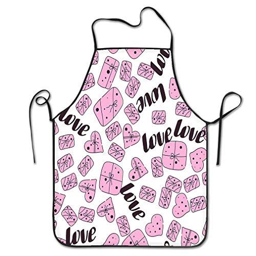 qidushop Grembiule Professionale da Chef per Donne, con Scritta Love Valentines Day Line Love Valentines Day Line Doodle Gift Box Kitchen Ristorante Home Grembiule Unisex