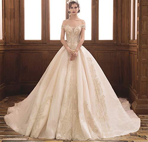 ELEGENCE-Z Hochzeitskleid, Europa und Amerika luxuriös sexy tiefem V-Ausschnitt trägerlosen Träger Palast schlanke Prinzessin Traum schleppende Hochzeitskleid - Seide Trägerlosen Brautkleid