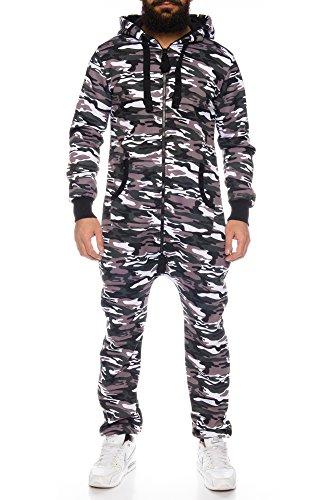 Herren Jumpsuit Overall Strampeler Latzhose Ganzkörperanzug Sweat Camouflage Design. Warm, Weich, Sportlich (L, Braun)