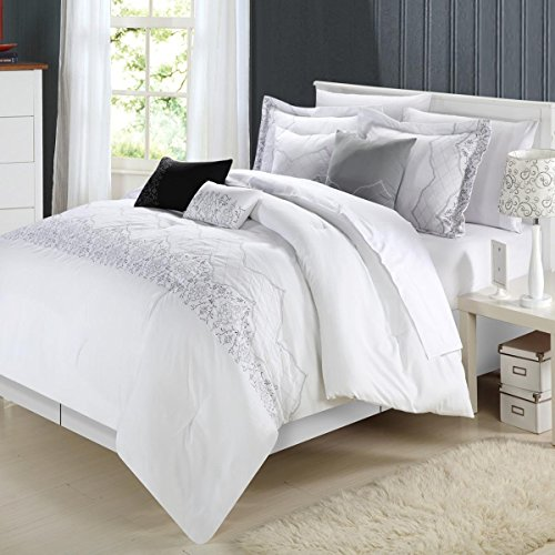 Chic Home Grace 8 teiliges Tröster Set, King Size, Weiß