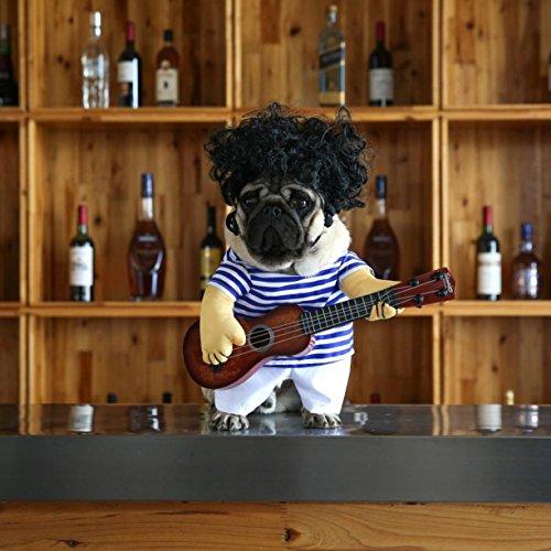 idung, Hund Gitarrist Dressing Kostüm, Pet Gitarre Kleid und Haare, Cosplay Perform Kleidung, Haustier Kleidung für Halloween Coslay Party Weihnachtsgeschenk für Hund innerhalb von 7,5 kg (Dressing Für Ein All White Party)