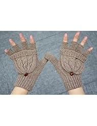 OULII Mitaine Gants Mitaines laine tricot Gants hiver chaud laine tricoté Convertible Fingerless Gloves With Mitten couverture (Brown) - cadeau de Noël pour femmes filles