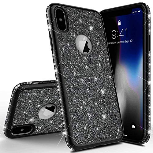 Homikon Silikon Hülle Kompatibel mit iPhone X/XS Überzug TPU Bling Glitzer Strass Diamant Schutzhülle Ultra Dünn Kratzfest Soft Flex Durchsichtig Silikon Handyhülle Tasche Case - Schwarz -