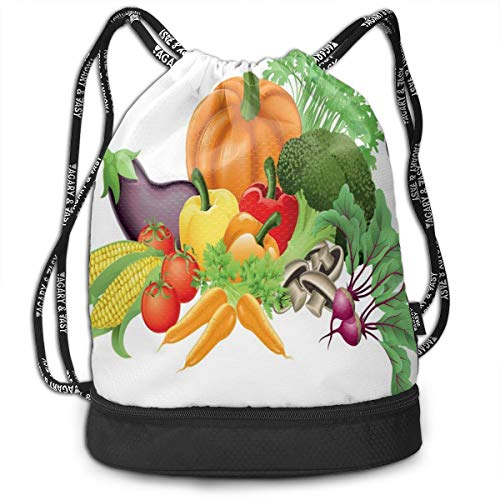 LULABE Printed Drawstring Backpacks Bags,Cartoon Drawing Style Fall Harvest Yield Fresh and Tasty Vegetables Bell Peppers,Adjustable String Closure
