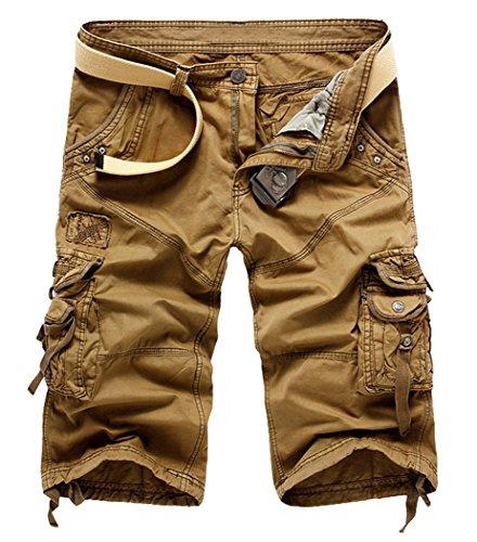 Panegy Herren Jungen Causal Baumwolle Cargo Shorts Cargohose 3/4 Pants mit Gürtel - Khaki Inch Größe W34