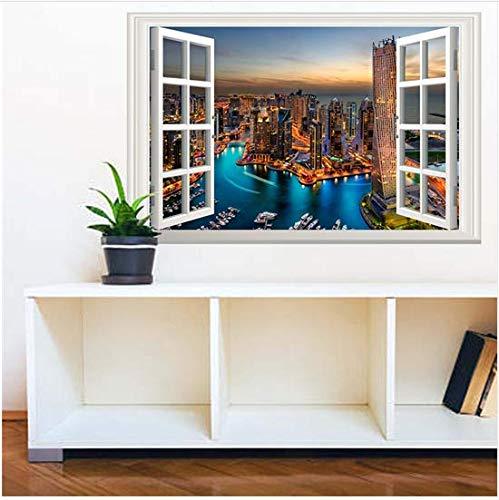 Newberli 3D Home Decoration Wandaufkleber Landschaft Außerhalb Aufkleber Für Wand Fenster Dekoration 38X58 Cm