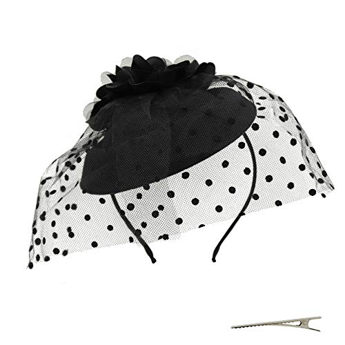 Umeepar Damen Blume Pillbox Fascinator Hut Hochzeit Tea Party Hüte mit Schleier Stirnband Clip (Schwarz)
