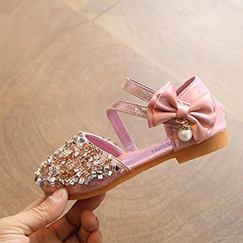 NiSeng Mädchen Prinzessin Schuhe Elegant Festlich Schuhe Ballerina Schuhe Prinzessin Schuhe Rosa