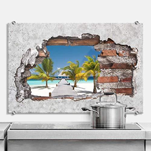 Spritzschutz 3D Optik - Der Weg ins Paradies Strand Meer Urlaub Wand Mauer Loch Natur Fotografie Küche Küchenrückwand mit Wandhalterung Wall-Art - 60