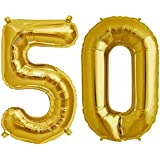 """Balloonistics Solid 50 Number Foil Balloon 17"""" Inch Balloon (Gold) -Pack of 2"""