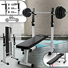 Idea Regalo - Physionics Set palestra panca pesi con bilanciere e set pesi da 60 kg