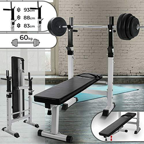 Physionics - Banco de entrenamiento plegable y multifuncional con barra larga y pesas de 60 kg - aprox...