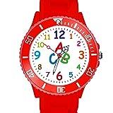 Taffstyle Kinder Armbanduhr Silikon Sportuhr Bunte Sport Uhr Kinderuhr Lernuhr Zahlen ABC Motiv Analog Rot
